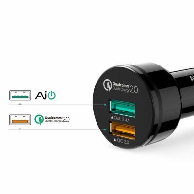 Aukey 2 USB-s autós gyors töltő CC Y5
