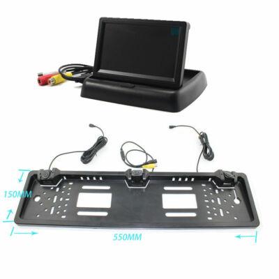 Tolatókamera és tolatóradar Szett, rendszámtábla tartóba építve monitorral
